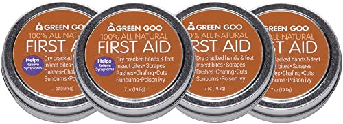 Green Goo Natural Skin Care for Cracked Hands and Feet, Insect Bites, Sunburn, Blisters, First Aid, Travel Tin, 0.7 Ounce (Pack of 4)