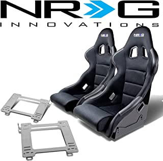 NRG FRP-311 Pair of Fiber Glass Bucket Racing Seat (Black)+Mounting Bracket for Mazda Miata MX-5 1st Gen NA