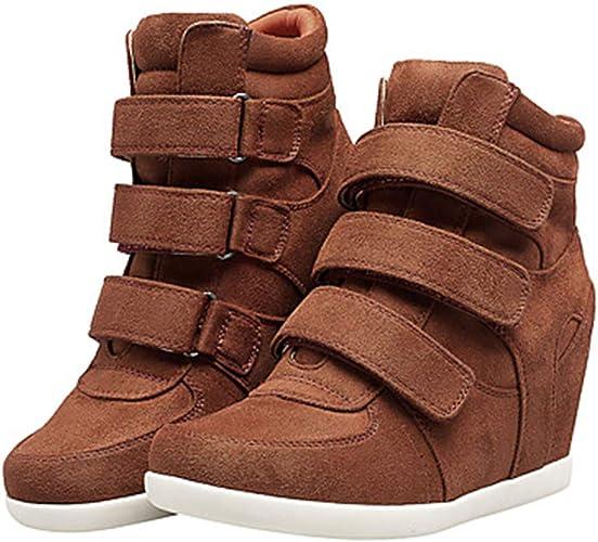 TTchaussures Femme Chaussures Cuir Nappa Printemps Confort Bottes à La Mode Basket Hauteur De Semelle Compensée Marron Bleu   Vin,marron,US5.5 EU36 UK3.5 CN35