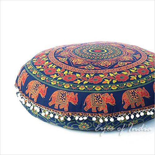 Eyes of India - 32' Blue Orange Mandala Floor Pillow Meditation Cushion Seating Throw Cover Hippie Round Colorful Decorative Bohemian Accent Boho Chic dog bed Indian Handmade COVER ONLY