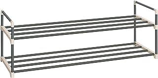 SONGMICS Zapatero de 2 Niveles, Estantes Metálicos para Guardar hasta 10 Pares de Zapatos, para Sala de Estar, Entrada, Vestíbulo y Armario, 92 x 30 x 33 cm, Gris LSA12GY