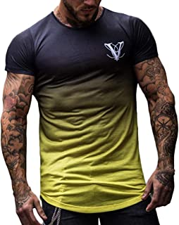 Easytoy Men Slim Fit Tech Workout Gym Shirt Short Sleeve Breathable Soft Top