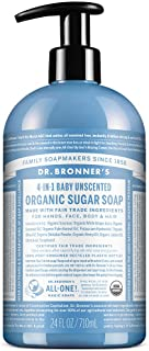 Dr. Bronner's - Organic Sugar Soap (Baby Unscented, 24 Ounce) - Made with Organic Oils, Sugar and Shikakai Powder, 4-in-1 ...