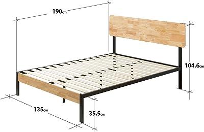 Zinus Cama de plataforma de madera y metal con soporte de ...