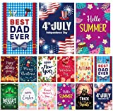 Garden Flag Set - Pack of 12 Colorful Holiday Outdoor Flags - Made from Double Stitched Polyester - Three Layers, Double-Sided Print - Seasonal Decoration for Home Garden and Lawn - 12.5 x18' Size - Weather Resistant | Proudly Designed in USA | Father's Day Garden Flag