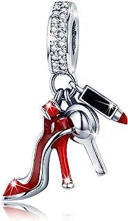 Charm in argento sterling 925, con scarpa a tacco alto, rossetto e perlina, per donne e ragazze, adatto per catenina a ser...
