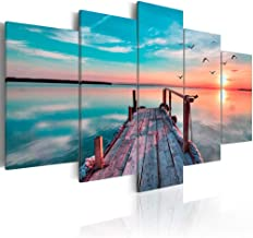 QGQZKAN 100 * 55cm Modern Wall Art 5 Pieces Flying Bird Beautiful Sunset Sky Wooden Trestle Sea Landscape Canvas Painting Home Decor