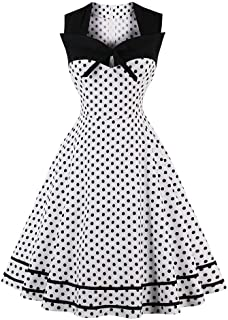 Shenme Women's Vintage Elegant Black Polka Dot Sleeveless Dress Retro Cocktail Party Dress Evening Prom Swing Dress for women (Size : 4XL)