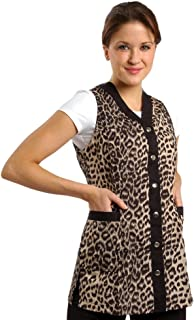 Sleeveless Leopard Salon Smock (L (10))