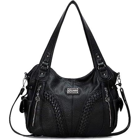 KL928 Damen Handtasche Leder Taschen Umhängetaschen Schultertaschen Henkeltaschen Hobo Tasche Weiches Damentasche für Frauen (Black)