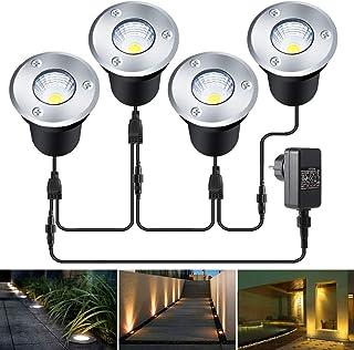 Foco LED empotrable en el suelo, B-right 4 en 1, para exterior, suelo con enchufe, lámpara de suelo redonda, 4 x 3 W, 1120 lúmenes, luz blanca cálida, IP67 resistente al agua, para jardín o balcón