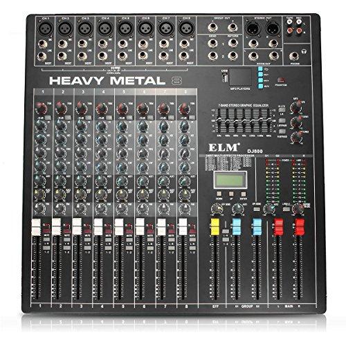 NARJOG EL M DJ800 48V DC 8 canaux Puissance professionnelle Karaoké KTV DJ Mixeur avec console à...