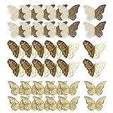 Mitening Pegatinas de pared de Mariposa, 36 Piezas 3D Decoración de Mariposas, Ideal para Sala de Niños, Cocina Nevera Plantas de Jardín Decoraciones de Fiesta - Oro