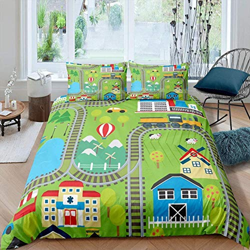 Evvaceo Child Duvet Cover Pillowcase 3D Train Hot Air Balloon House 135 Cm X 200 Cm 3-Piece Set Boy Girl 3D Printing Bed Linings Superfine Fiber- Breathable- Super Soft- Hypoallergenic- Z(individual)