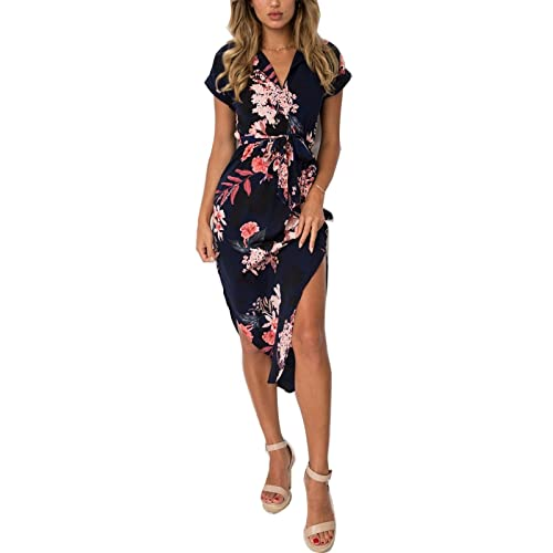 31519f60dc10 PORALA Womens Summer Dresses V-Neck Casual Work Geometric Pattern Midi  Floral Print Belted Pencil