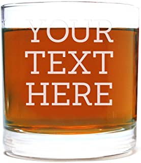 Personalized Etched Custom Message Whiskey Rocks Glass