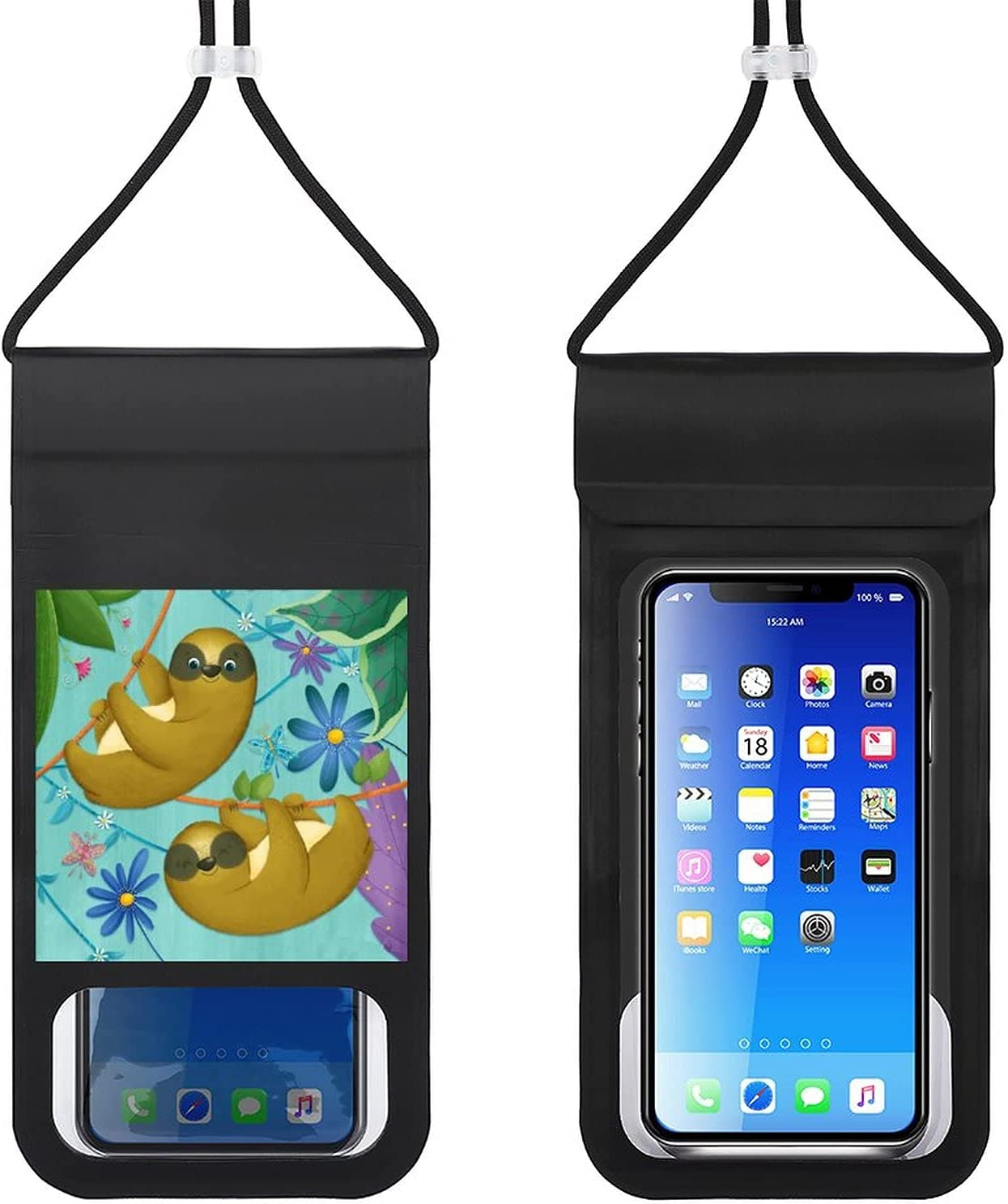Waterproof Mobile Phone Package Cell Phone Dry Bag with Lanyard Phone Case Outdoor Swimming Phone Bag Sloth in The Jungle