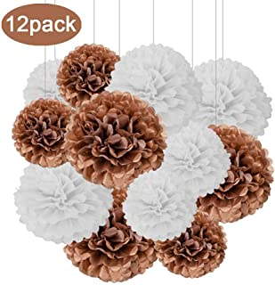 Aimto 12pcs Rose Gold and White Hanging Tissue Paper Pom Poms Decorations for Party Ceiling Wall Tissue Flowers Decorations - 2 Colors of 12 Inch, 10 Inch