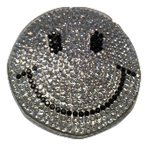b2see Iron on Glitzer Strass Smiley Bügel-Patch-Aufnäher-Aufbügler-Patches-Sticker-Aufkleber-Applikation-Stickerei-Bügelbild Smiley Strass Glitzer Strass Pailletten Kinder Kleidung 6 cm