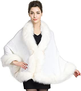 Faux Fur Shawl Wrap Cape Stole Shrug Bridal Winter Wedding with Hook More Colors