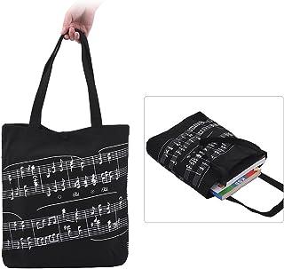 حقيبة يد من القماش القطني قابلة للغسل حقيبة تسوق تسوق بقالة مع زر مغناطيسي لنوتة موسيقية