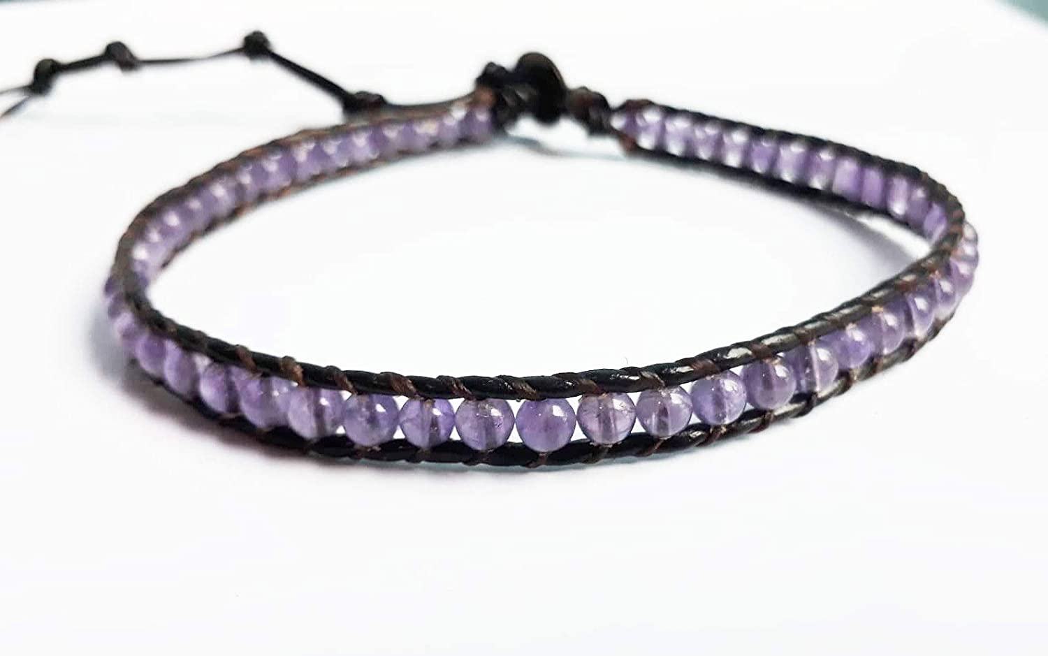 Amethyst Super popular specialty store stone choker necklaces purple gem Spring new work one after another leather