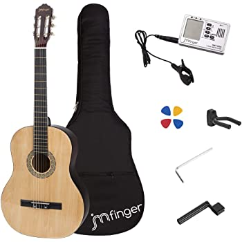 JMFinger Full Size Classical Guitar 39 inch Guitar for Beginners with Gig Bag, Strap, Picks, 3 in 1 Metronome&Tuner,Natural