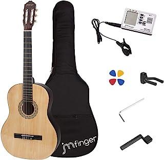 گیتار کلاسیک کلاسیک JMFinger 39 اینچ مخصوص مبتدیان با کیسه های گیگ ، بند ، تابلوها ، 3 در 1 مترونوم