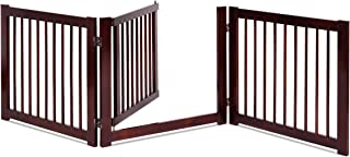 Giantex 24'' Configurable Dog Gate with Door, Freestanding Pet Gate for Small to Medium Sized Pets, Walk Through Wooden Pet Gate, Foldable 3 Panels for House Doorway Stairs, Pet Safety Fence