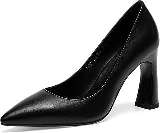 [チカル] レディース パンプス ポインテッドトゥ ハイヒール パンプス 手造り スクエアヒールパンプス 靴 美脚 8cm 太ヒール シューズ 牛革 レザー 本革 カジュアル OL 通勤 ビジネス 結婚式 中敷きクッション 歩きやすい
