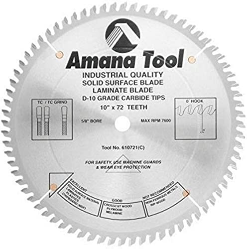 """new arrival Amana Tool - (610721) high quality Carbide Tipped Solid sale Surface 10"""" Dia x 72T Mtc, 0 Deg, 5/8 Bore sale"""