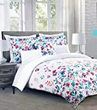 Cynthia Rowley Bedding 3 Piece Full/Queen Size Duvet Comforter Cover Set Bright Floral Flowers Pattern in Shades of Blue, Purple, Orange and Red on White
