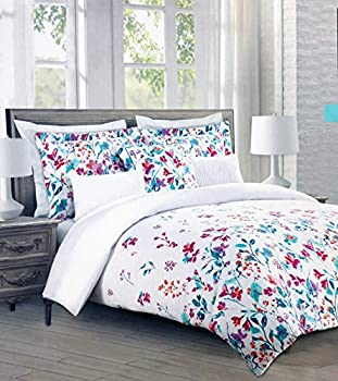Cynthia Rowley Bedding 3 Piece Full/Queen Size Duvet Comforter Cover Set Bright Floral Flowers Pattern in Shades of Blue Purple Orange and Red on White
