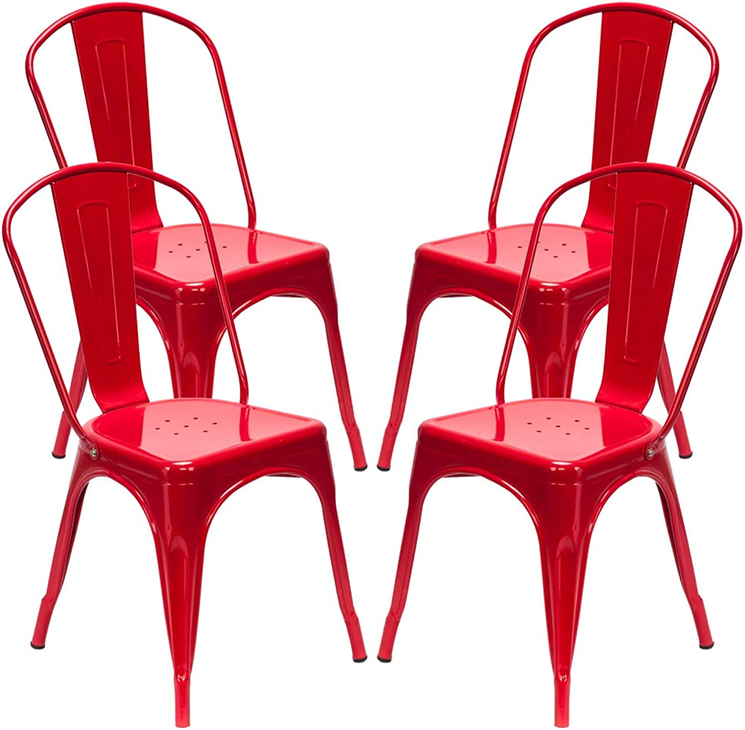 HIKTY Chairs Metal Stackable Restaurant Dining Chair Metal Counter Stool Trattoria Chair Metal Stools Indoor-Outdoor Counter Height Stool Set of 4 (Red)