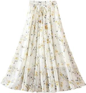 pipigo Faldas largas de Gasa para Mujer, Estilo Bohemio, Floral, de Talle Alto