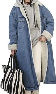 Vska Women's Oversized Warm Velvet Windproof Cowboy Trench Coat