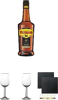 Osborne Veterano 8 Jahre spanischer Brandy 0,7 Liter  2 Bugatti Nosing Gläser mit Eichstrich 2cl und 4cl  2 Schiefer Glasuntersetzer eckig ca. 9,5 cm Durchmesser