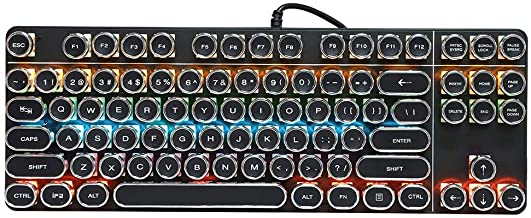 Wired RGB Keyboard, USB Mechanical Gaming Keyboard with Vintage Round Cap, Multiple Color Rainbow LED Backlit PC Gaming Ke...