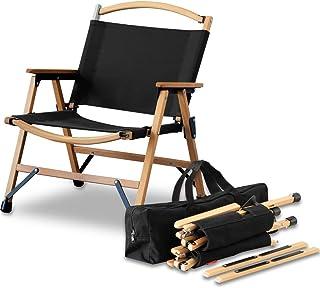FIELDOOR クラシックチェア 木製 × コットン コンパクト収納 脚キャップ 収納バッグ付 耐荷重100kg アウトドア キャンプ