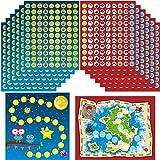 48 Mini Tablas de Incentivos de Búhos 24 Tablas de Recompensas de Caza Tesoro con Pegatinas de Piratas 48 Mini Tarjetas de Recompensa de Niños con Pegatinas Motivacionales de Estrellas Positivas