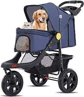 Cochecito doble para mascotas, para perros pequeños, medianos, gatos, 2 cachorros o dos gatitos, 4 ruedas, plegable, jaula de viaje con portavasos,