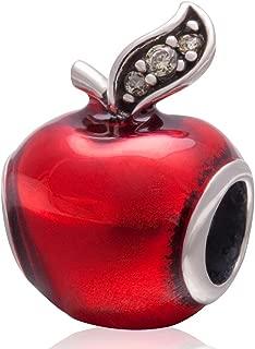Red Apple Enamel Crystal Green Antique Teacher 925 Silver Christmas Gift Beads For European Bracelets