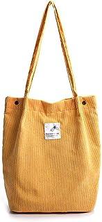 Funtlend Elegant Umhängetasche Damen Groß Cord Tasche Damen Handtasche Schultertasche für Uni Arbeit Mädchen Schule Büro-Gelb