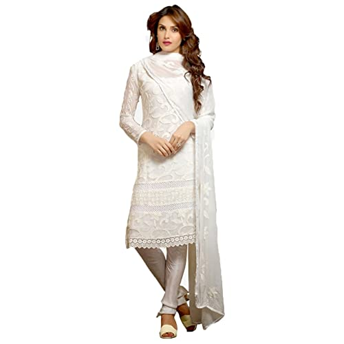 3576efb4d5 Utsav Designer Women s Karachi Work Semi Stitched Salwar Suit Dress  Material (DNR 1008 White)