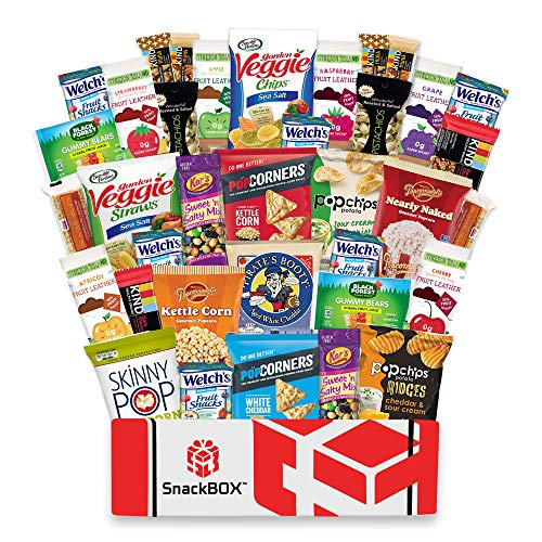 SnackBOX Gluten Free Healthy Snacks Care Package (34 Count) for College Students, Exams, Valentines Day, Military, Finals, Office and Gift Ideas. Over 3 LBS of Chips, Popcorn, and granola Bars.