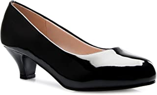 Olivia K Womens Classic Closed Toe Kitten Heel Pumps | Dress, Work, Party Low Heeled