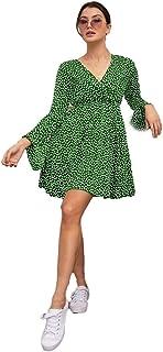 فستان نسائي قصير بأكمام مكشكشة بطبعية الزهور