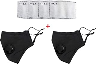 2 Pack Black Reusable Cotton Cover with Breathing Valve, Washable Cotton Cloth Adjustable Ear Loops with 4 Pcs Filters for Men and Women