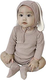 AGQT Baby Mädchen Junge Hase Kurzarm Einteiliger Strampler Neugeborenen Baby Mädchen Jungen Fotoshooting Kaninchen Kostüm Jumpsuit mit Hut & Socken 3PC 0-24 Monate