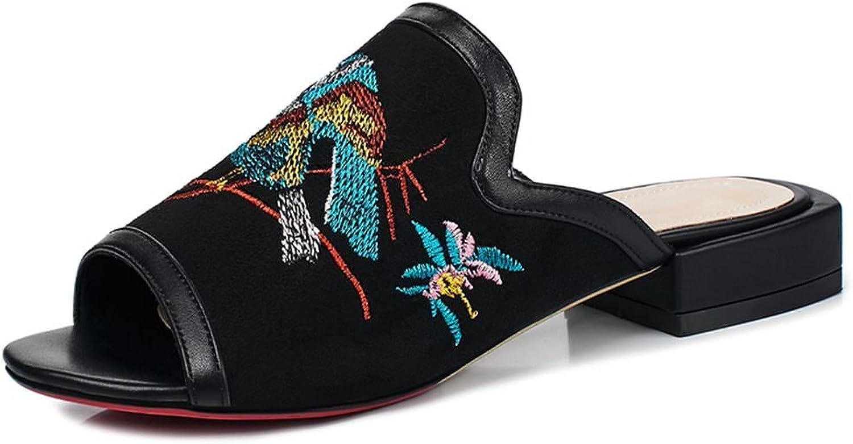 DecoStain Women's Animal Embroidery Peep Toe Low Heel Mule